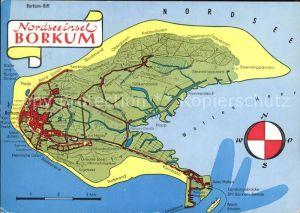 Borkum Nordseebad Landkarte von der Insel / Borkum /Leer LKR