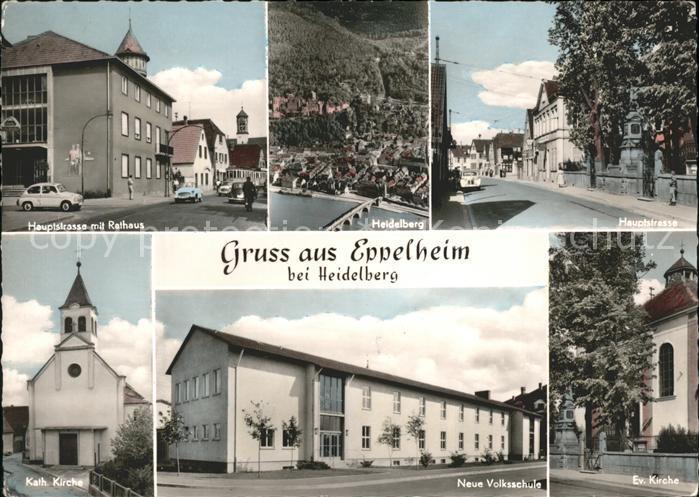 Eppelheim Hauptstrasse Rathaus Kirche Volksschule Fliegeraufnahme Heidelberg Kat. Eppelheim