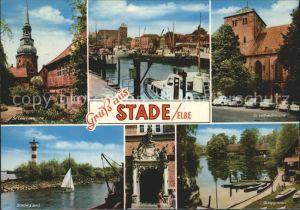 Stade Niederelbe Kirche Hafen Stadersand Rathausportal Burggraben Kat. Stade