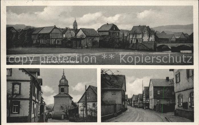 Katzenfurt Ortsansicht Kirche Strassenpartie Kat. Ehringshausen