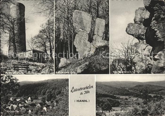Lauenstein Salzhemmendorf Aussichtsturm Adam und Eva Moenchenstein Ortsblick / Salzhemmendorf /Hameln-Pyrmont LKR