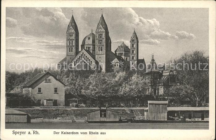 Speyer Rhein Blick vom Rhein auf den Kaiserdom Kat. Speyer