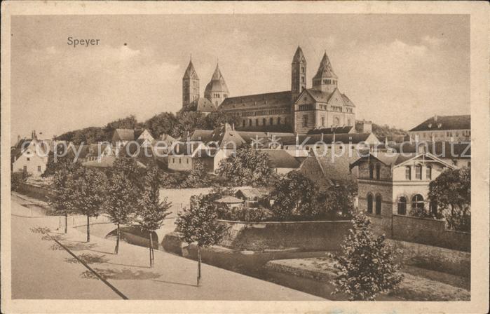 Speyer Rhein mit Kaiserdom Kat. Speyer