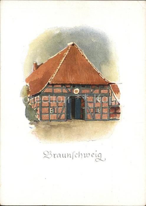 Braunschweig Bauernhaus nach einem Aquarell von D.Nettelhorft Kat. Braunschweig