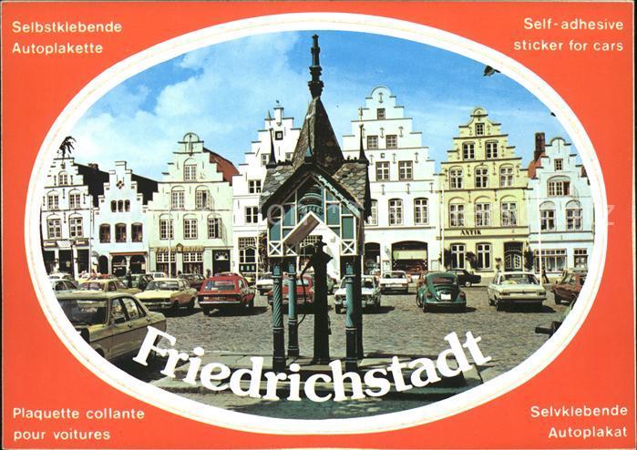 Friedrichstadt Eider Markt Giebelhaeuser Autos Autoplakette Kat. Friedrichstadt