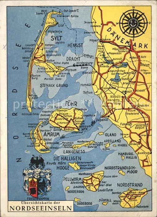 Sylt Landkarte Nordseeinseln mit Foehr und Halligen Wappen Kat. Sylt Ost