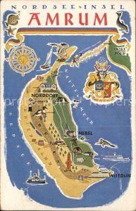 Amrum Nordsee Insel Zeichnung Wappen Landkarte Kat. Nebel