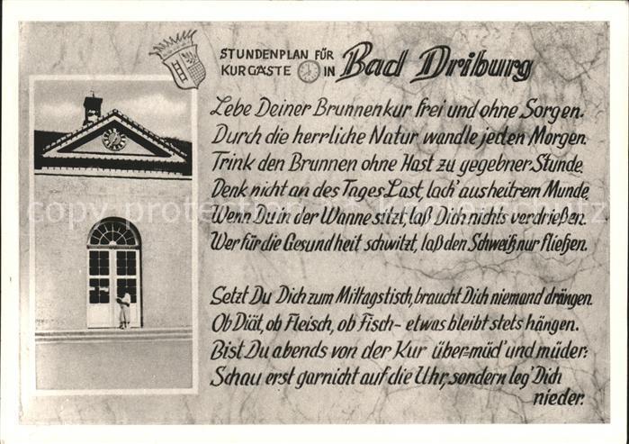 Bad Driburg Wappen Stundenplan Kurgaeste Kat. Bad Driburg
