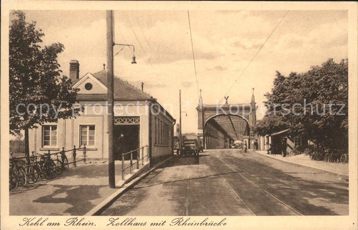 Kehl Rhein Zollhaus mit Rheinbruecke Kat. Kehl