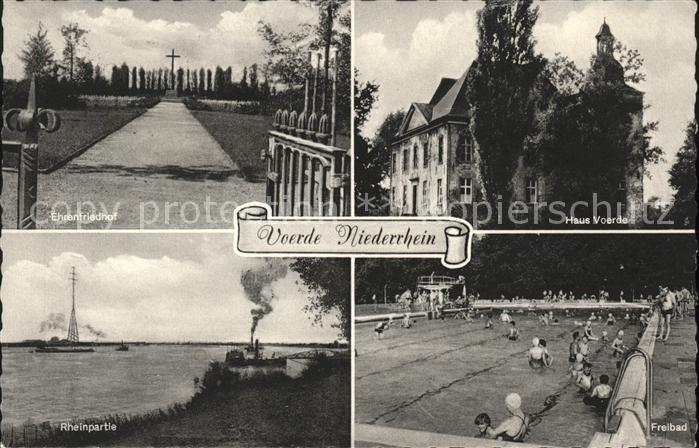 Voerde Niederrhein Ehrenfriedhof Haus Voerde Rheinpartie Freibad Kat. Voerde (Niederrhein)