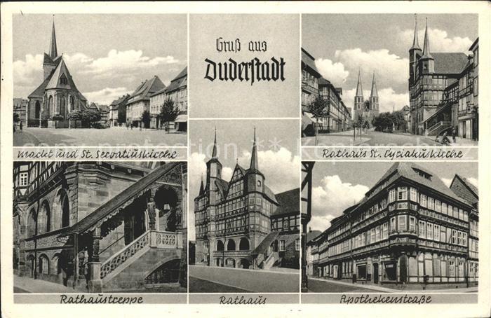 Duderstadt Markt Servatiuskirche Rathaus Treppe St. Cyriakuskirche Apothekenstrasse Kat. Duderstadt