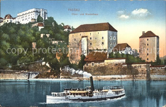 Passau Ober  u. Niederhaus Dampfer Kat. Passau