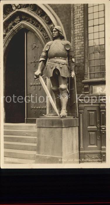 Bremen Ritter vor dem Rathausportal Kat. Bremen
