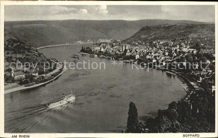Boppard Rhein Fliegeraufnahme Rhein Dampfschiff Kat. Boppard