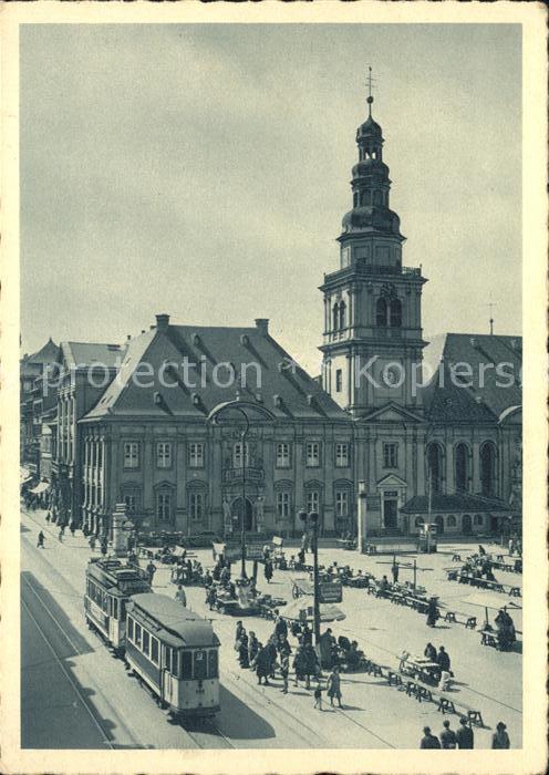 Strassenbahn Mannheim Markt mit altem Rathaus Kat. Strassenbahn
