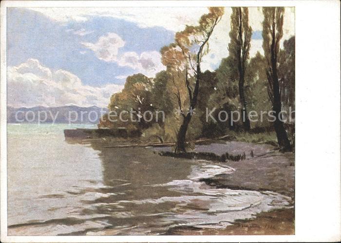 Kuenstlerkarte Albert Stagura Bodenseeufer bei Meersburg Nr. 42302 Kat. Kuenstlerkarte