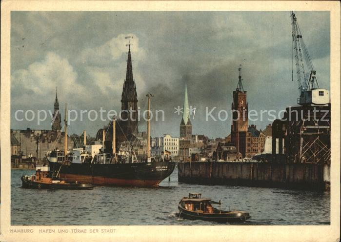 Schiffe Hamburg Hafen Tuerme der Stadt  Kat. Schiffe
