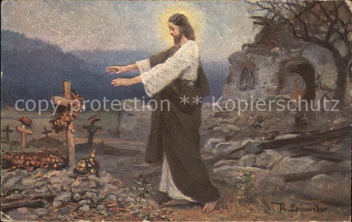 Rotes Kreuz Jesus Grab Tod Soldat Pickel Kuenstlerkarte R. Leinweber Kat. Rotes Kreuz