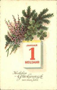 Datumskarte Neujahr Kleeblaetter  Kat. Besonderheiten