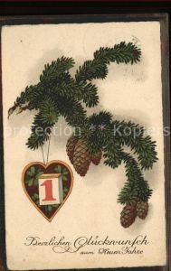Datumskarte Neujahr Kiefernzapfen Tannenzweige Kat. Besonderheiten