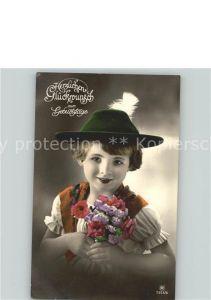 Glueckwunsch Geburtstag Blumenstrauss Bube Kat. Greetings