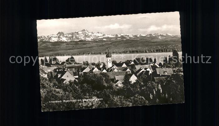 Allensbach Bodensee Ortsansicht mit Kirche und Schweizer Alpen / Allensbach Bodensee /Konstanz LKR