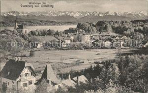 Starnberg Panorama mit See und Alpen vom Muehlberg Kat. Starnberg