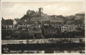 Bingen Rhein Ortsansicht mit Burg Klopp Kat. Bingen am Rhein