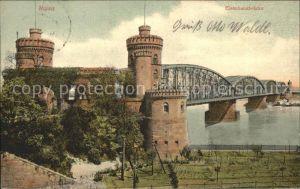 Mainz Rhein mit Eisenbahnbruecke / Mainz Rhein /Mainz Stadtkreis