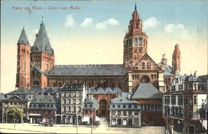 Mainz Rhein Blick auf den Dom vom Markt aus / Mainz Rhein /Mainz Stadtkreis