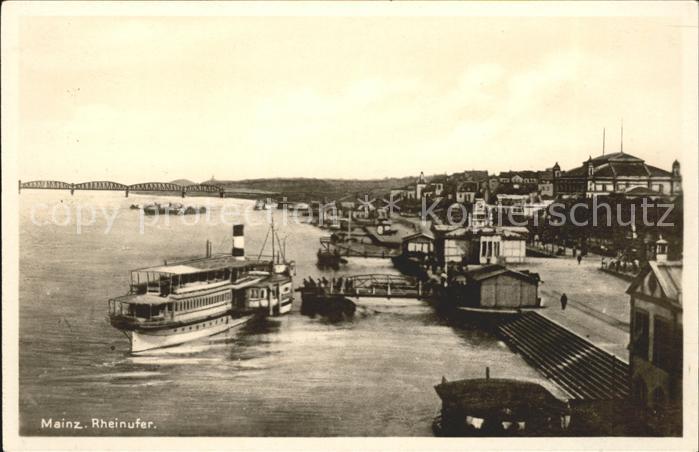 Mainz Rhein Rheinufer mit Ausflugsschiff / Mainz Rhein /Mainz Stadtkreis