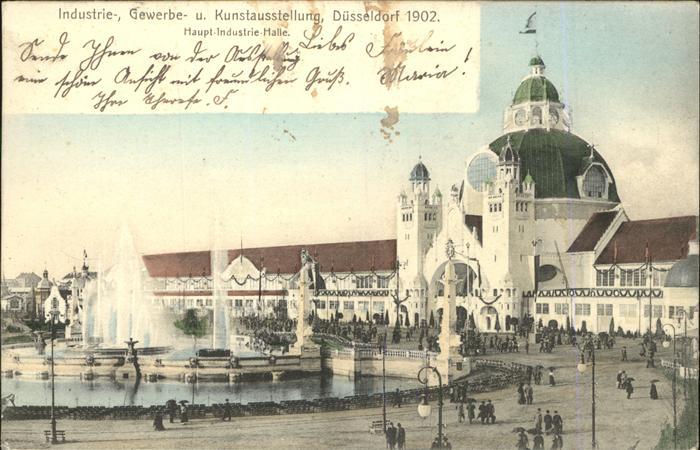 Ausstellung Industrie Gewerbe Kunst Duesseldorf 1902  Haupt Industrie Halle Springbrunnen