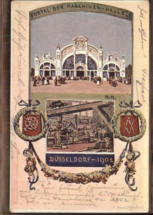 Ausstellung Industrie Gewerbe Kunst Duesseldorf 1902  Wappen Maschinen Halle