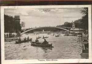 Treptow Berlin Abtei Bruecke Spree Boot / Berlin /Berlin Stadtkreis