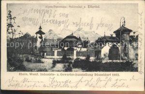 Ausstellung Industrie Gewerbe Kunst Duesseldorf 1902  Alpen Panorama Suldenthal Zillerthal Kat. Duesseldorf