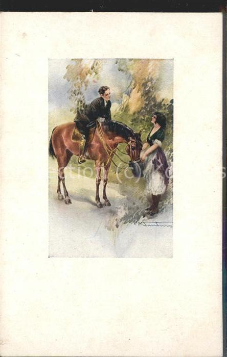 Italien Kuenstlerkarte Reiter Pferd Junge Frau  Kat. Italien