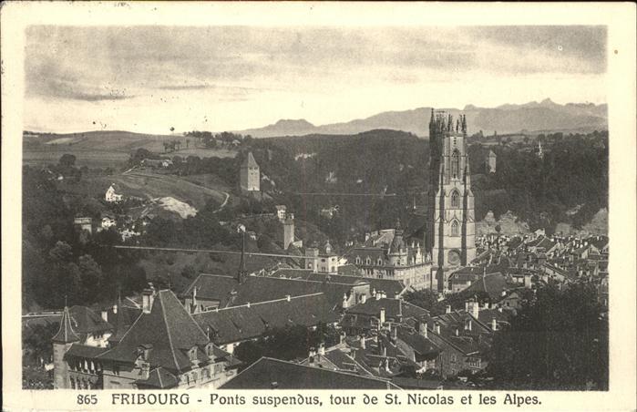 Fribourg FR Ponts suspendus tour de St Nicolas et les Alpes Kat. Fribourg FR