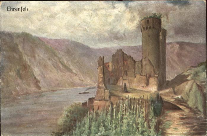 Ehrenfels Bingen Ruine Ehrenfels Kuenstlerkarte Kat. Bingen am Rhein
