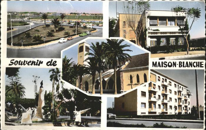 Alger Algerien vers aeroport d'Alger Maison Blanche Jardins Ecoles Eglise Monument aux Morts Nouvelles Constructions Kriegerdenkmal / Algier Algerien /