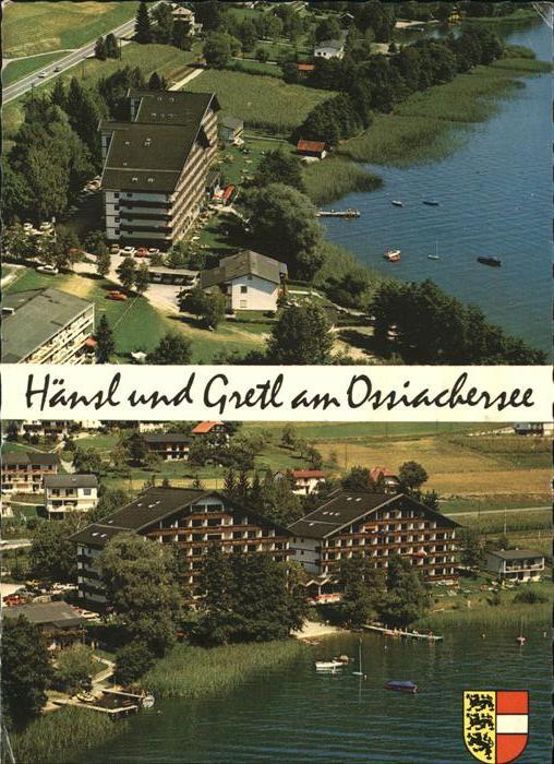 Stiegl Ossiach Fewotel Haensl und Gretl Ossiacher See Wappen Fliegeraufnahme Kat. Ossiach Kaernten