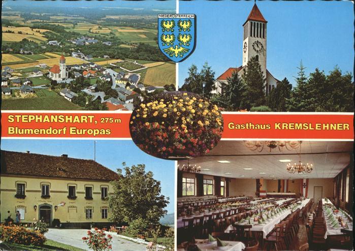 Stephanshart Fliegeraufnahme Blumendorf Kirche Gasthaus Kremslehner Wappen