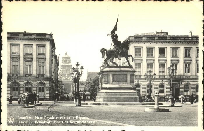 Bruessel Bruxelles Place Royale et rue de la Regence Kat.