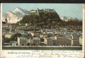 Salzburg Oesterreich Stadtblick mit Festung Hohensalzburg und Untersberg  / Salzburg /Salzburg und Umgebung