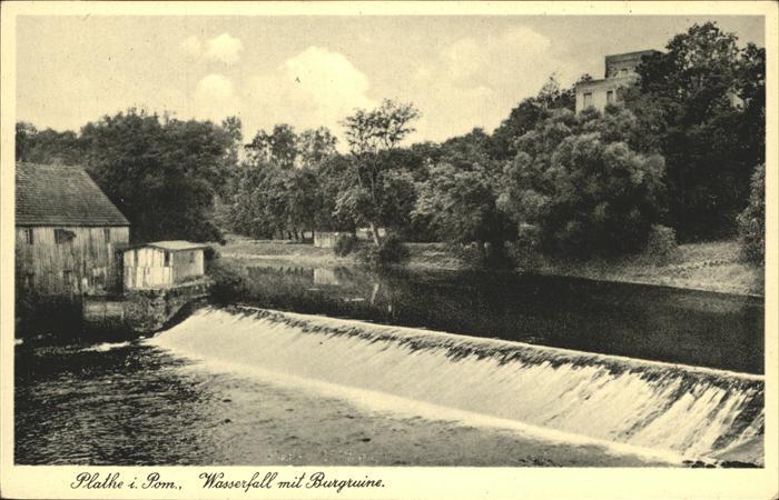 Plathe Westpommern Wasserfall mit Burgruine Kat.