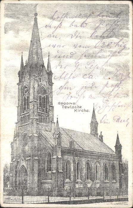 Grodno Weissrussland Deutsche Kirche Feldpost Kuenstlerkarte Kat.