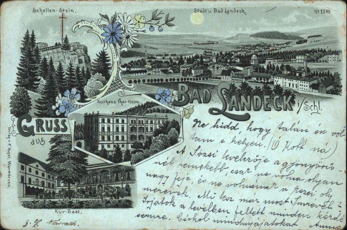 Bad Landeck Schollenstein Kurhaus Thal-Heim Kursaal Litho Mondscheinkarte x