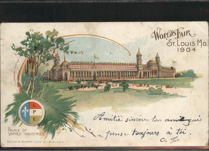 St Louis Missouri World's Fair Palace of varied industries /  /