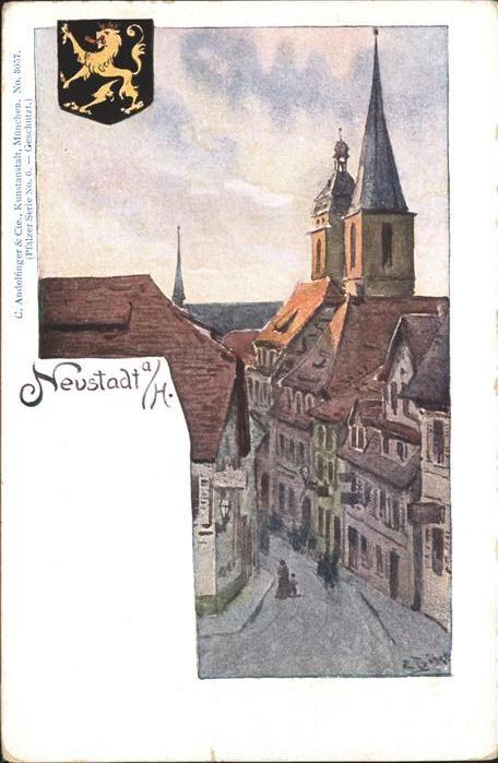 Neustadt Haardt Strassenpartie Kirche Wappen Kuenstlerkarte Kat. Neustadt an der Weinstrasse