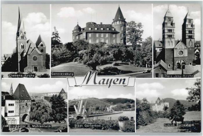 Mayen Mayen Genovevaburg Clemens Kirche Herz Jesu Kirche Schloss Buerresheim * / Mayen /Mayen-Koblenz LKR