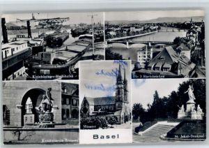 Basel BS Basel Rheinbruecke Kunstmusem Brunnen St Jakob Denkmal  x / Basel /Bz. Basel Stadt City